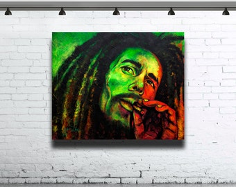 Art Portrait Painting Abstract painting large Contemporary Original Acrylic  Bob Marley famous people coloured Wall art modern art