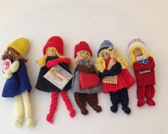 Set of (5) Buttiki Swedish Handmade Wooden Yarn ornaments- Perfect collectible for the holidays
