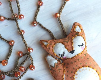 """Embroidered Fox """"The Little Prince"""" Long Crochet Chain Pendant"""