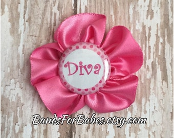 SALE Diva Pink Satin Flower Hair Clip, Toddler Diva Hair Bow, Girls Pink Flower Accessory, Alligator Clip, Barrette, Diva, Hair Accessory