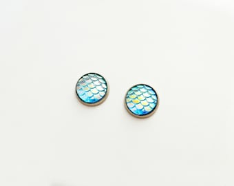 Scale Blue Iridescent Post Earrings // Choose Your Color // Dragon // Mermaid