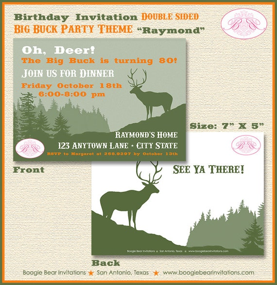 Deer Hunting Birthday Party Invitation Buck Elk Hunting Teen