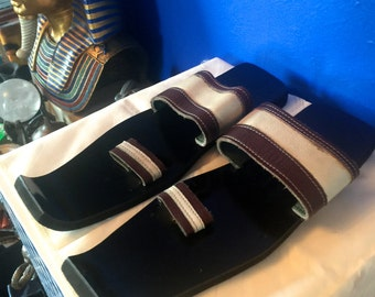 Handmade New African Brown and White TwoTone Leather Extended Square Toe Slip On Sandals.