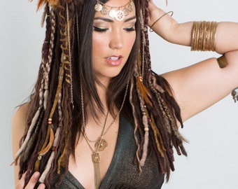 Brown and Gold Dreaded Feather Headdress