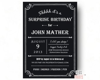 Adult Surprise Birthday Invite - Male Birthday Invitations (Printable) Surprise 30th Birthday Invitation - Surprise Party Invitation - Black