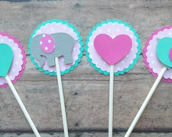 Elephant, Bird, and Heart Cupcake Toppers