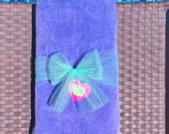 Lavender Personalized Monogrammed Velour Cotton Beach Towels, Pool Towels and Bath Towels