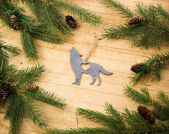 Love Wolf Christmas Ornament Rustic Metal Ornament Recycled Steel Holiday Gift Industrial Decor Wedding Favor Iron Maid Art