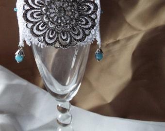 Large silver toned medallion Cuff Bracelet