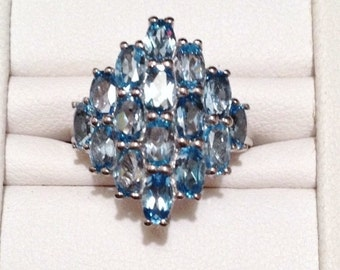 ON SALE - Swiss Blue Topaz Ring - Sterling Silver Size 7