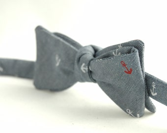 Men's Bow Tie – SUMMER CLEARANCE  - Blue, White, and Red Blended Cotton Linen Bowtie