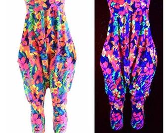 Halter Top Drop Crotch Harem Jumpsuit in Neon Tahitian Floral Festival Onsie Romper Playsuit w/Pockets 152404