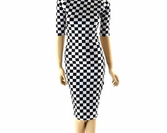 Half Sleeve, Mock Turtle Neck Knee Length UV Glow Black & White Checkered Winners Flag Print  Bodycon Clubwear Dress 152411