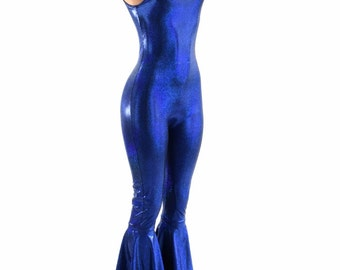 Blue Metallic Sleeveless Tank Style Spandex Catsuit with Bell Bottom Flares 153942
