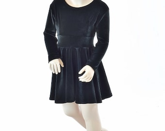 Toddlers and Girls Size 2T 3T 4T and 5-12 Black Stretch Velvet Long Sleeve Fit and Flare Skater Dress  151922