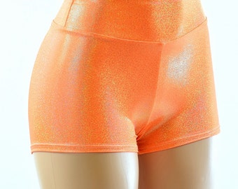 Neon Orange Sparkly Jewel Holographic High Waist Shorts Rave Festival Clubwear 152139