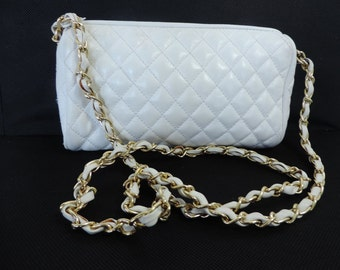 White Vintage Classic Quilted Classic Shoulder Bag Summer Purse