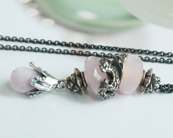 925 Silver Fantasy-Necklace with  a fac. Kunzite Pendant