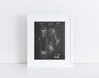 Skateboard Brake Patent Poster, Skater Art, Skateboard Decor, Vintage Skateboard PP0492