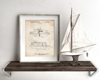 Houseboat Patent Poster, Lake Life, Lake House Decor, Beach House Wall Art, Nautical Print, PP0884