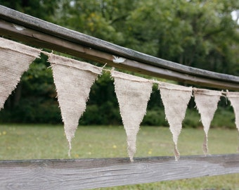 Bulk Order of Wedding Burlap Bunting Pennant Flags on Twine: Over 225 Feet Worth!