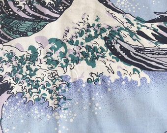 Vintage Japanese Style Cotton Fabric with Great Wave in Kanagawa ,for Clothing/Tablecloth/Home Décor ETC –1/2 Yard