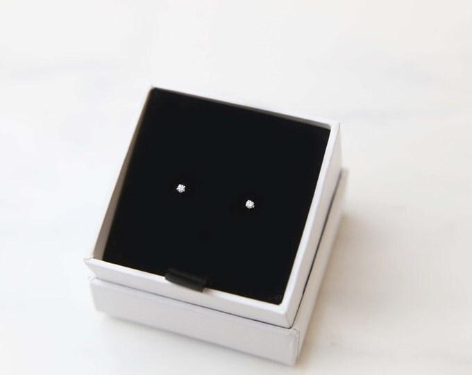 Tiny CZ Diamond Stud Earring