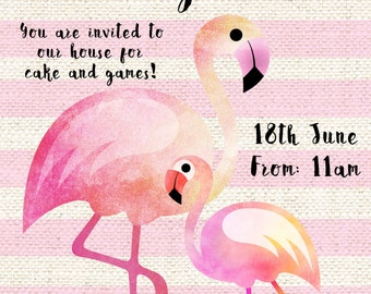 Flamingo Birthday Party Invite - Customisable, Download only.