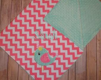 Birdie -Personalized Baby Bird Minky Blanket - Hot Pink Chevron with Aqua Minky