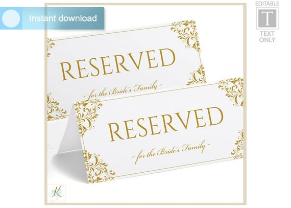 Foldable reserved sign template pictures to pin on for Reserved seating signs template