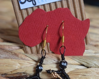 African Earrings - African Inspired Wire Jewelry - Guitar Fans!