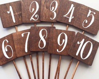 Wedding - Wood Rustic Table Numbers Sqaure Many Fonts and Colors Available