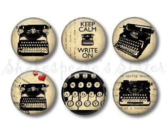 Writer Magnets - Fridge Magnets - Gift for Writer - 6 Magnets - 1.5 Inch Magnets - Kitchen Magnets