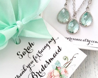 Bridesmaid jewelry set of 5 mint silver earrings and necklaces - Bridesmaids gift Silver Earrings and Necklaces - Bridesmaind Earrings mint