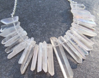 Raw Crystal Point Necklace- Crystal Bib Statement Necklace- Raw Quartz Necklace- Healing Crystal Necklaces- Bohemian Wedding Jewelry