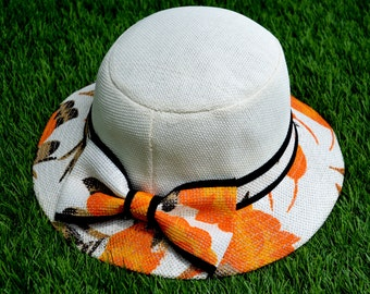 Orange Floral Panama Hat