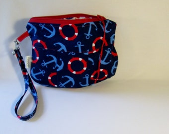 Nautical Pouch, Cosmetic Bag, Makeup Bag, Gadget Pouch, Wristlet Clutch, Red White and Blue, Free Shipping