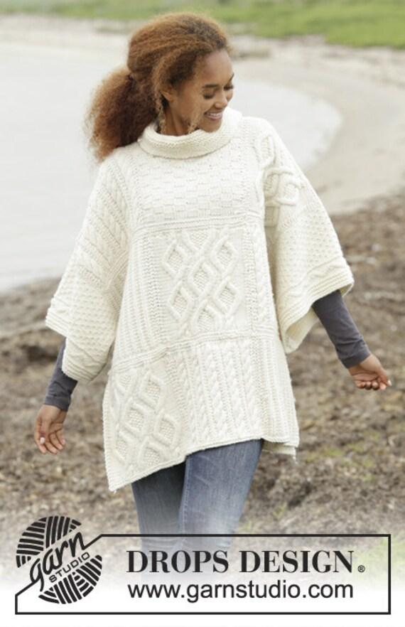 Aran style poncho custom made alpaca knit mantle soft knit