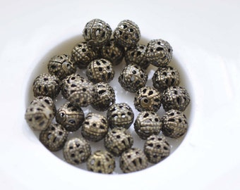 100 pcs Antique Bronze Filigree Ball Spacer Beads Size 6mm A8536