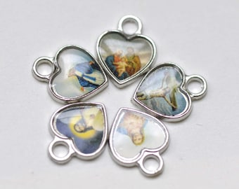 30 pcs of Antique Silver Enamel Jesus Heart Charms Mixed Style  A4171