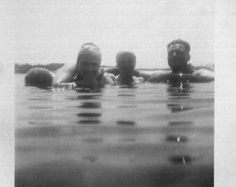 Vintage Photo..Heads in the Water 1940's, Original Found Photo, Old Photo Snapshot, Vernacular Photography, American Social History Photo