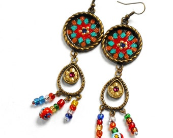 Funky Boho Dangle Earrings Painted Colorful Bohemian Hippie Jewelry FREE SHIPPING