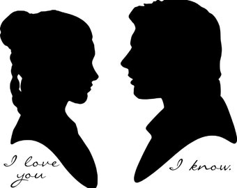 Star Wars Han Solo and Princess Leia Silhouette Vinyl Decals