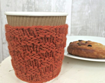 Coffee Lovers Gift, Thank You Gifts for Coworkers, Knit Cup Cozy, Knitted gifts for her, Reusable Coffee Sleeve, Tea Lover, Gifts Under 10