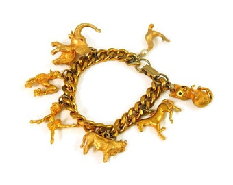 Chunky Vintage Charm Bracelet Rich Gold Tone Poodle Cat Elephant Ballerina and more