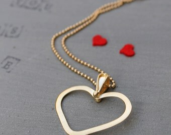 Romantic Necklace for her, Gold Heart Necklace for her, romantic girlfriend gift necklace, romantic Wife Gift necklace, Love Gift Women
