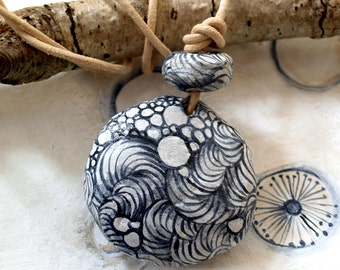 Pendant Doodle ''Abstract'' with leather cord made of  paper mache handmade beads