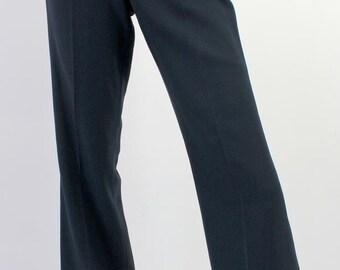 1970s Mens Vintage Dark Blue Turn Ups Cuffed Stapler Pants Trousers W30 x L32