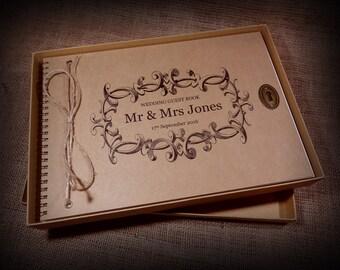 Personalised, Vintage Wedding Guest Book, Album, Scrapbook, Photo Album, Engagement, Guestbook, Wedding Present, Gift, Custom Printed