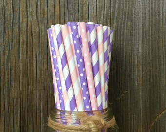 100 Lilac and PInk Stripe and Polka Dot Paper Straws - Baby Shower, Birthday Party Supply, Free Shipping!